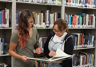 Students at Library Study Together