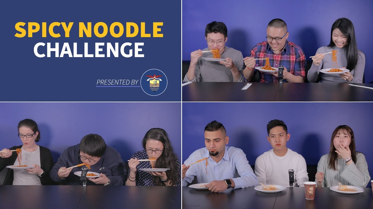 Students Try the Korean Spicy Noodle Challenge, Alexander College