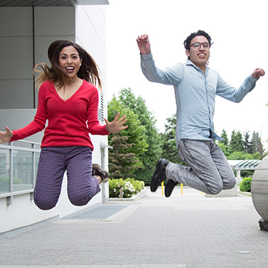 Happy International Student Jump Photo