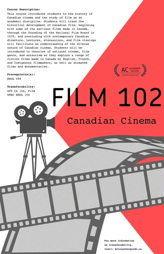 Promotion of new Canadian Cinema course at Alexander College