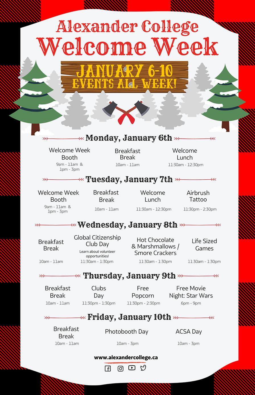 Alexander College winter 2020 Welcome Week schedule