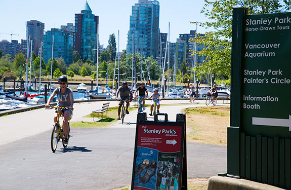 Cycling along the Vancouver Seawall