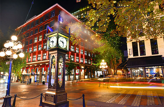Historic Gastown in Vancouver at Night