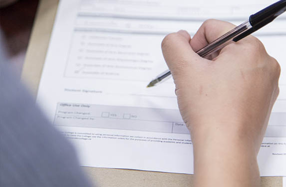 Student Filling out Form