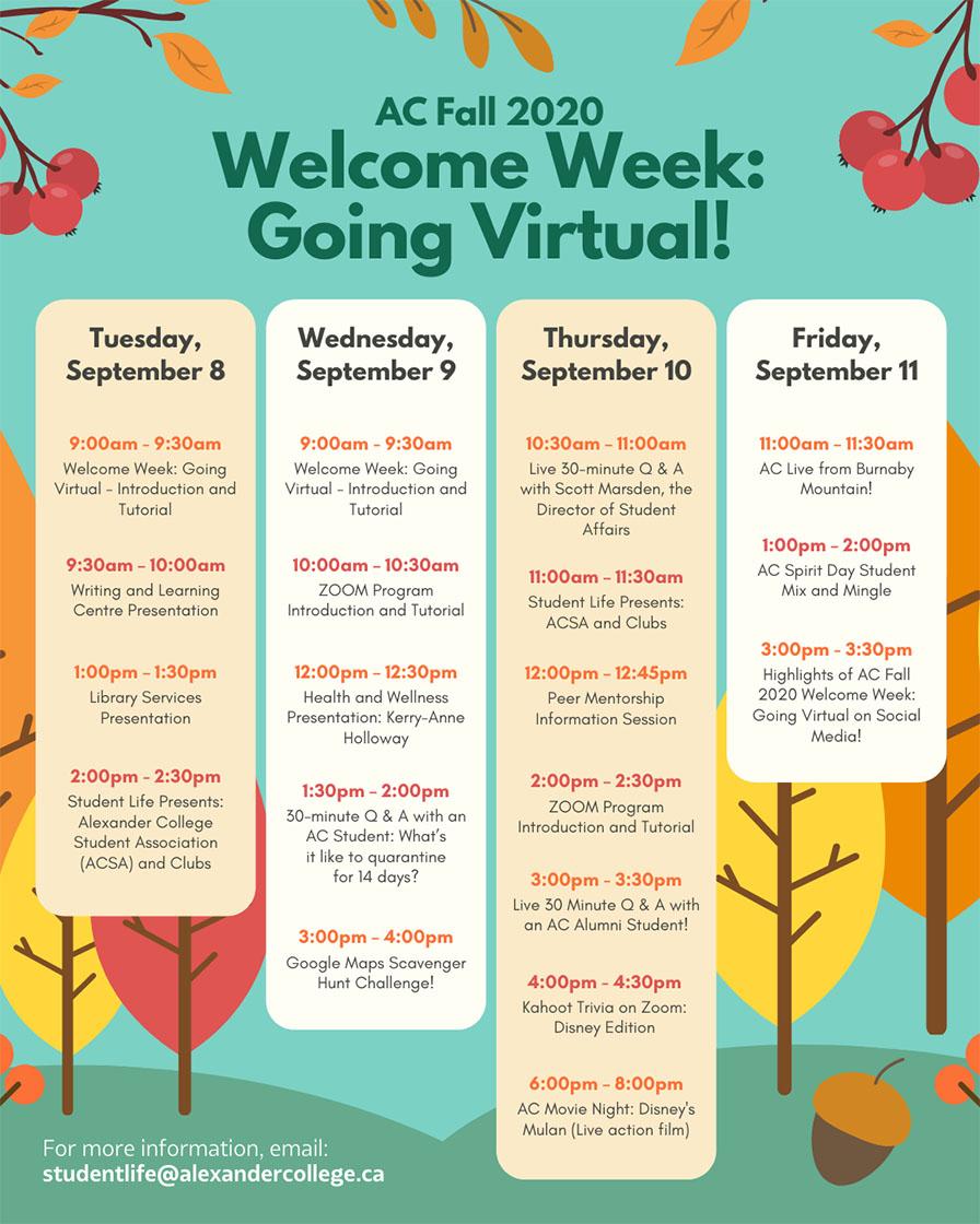 Alexander College Fall 2020 Welcome Week schedule