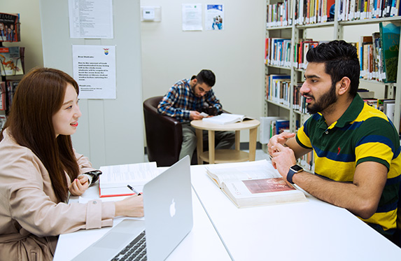 students inside the alexander college library
