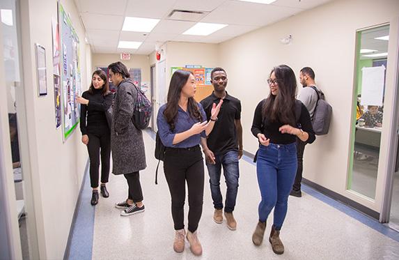 international students talking about school work
