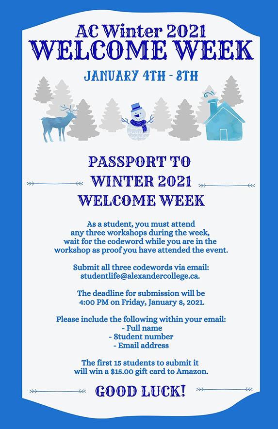 Passport for Winter 2021 Welcome Week