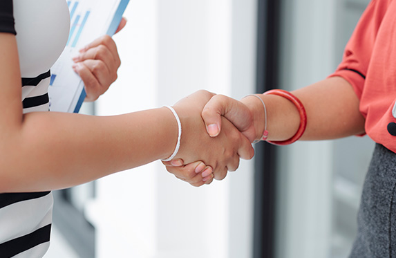 shaking hands during interview